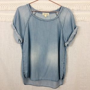 Anthro cloth & stone   Chambray High-Low Blouse L